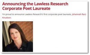 Corporate Poet Laureate Johannah Racz Knudson